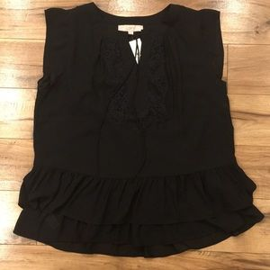 Loft Black Blouse with Lace and Ruffles